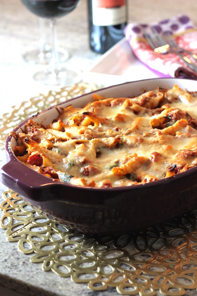 baked penne spinach sausage 2
