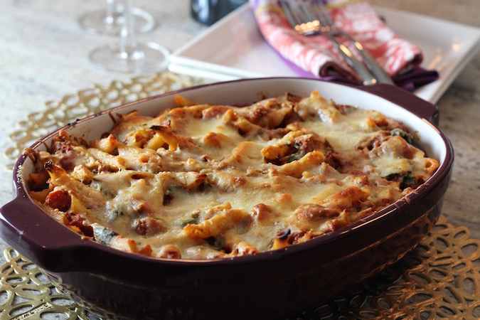 baked penne spinach sausage 3