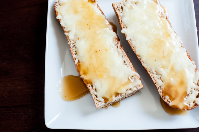 honey drizzled cheese toasts