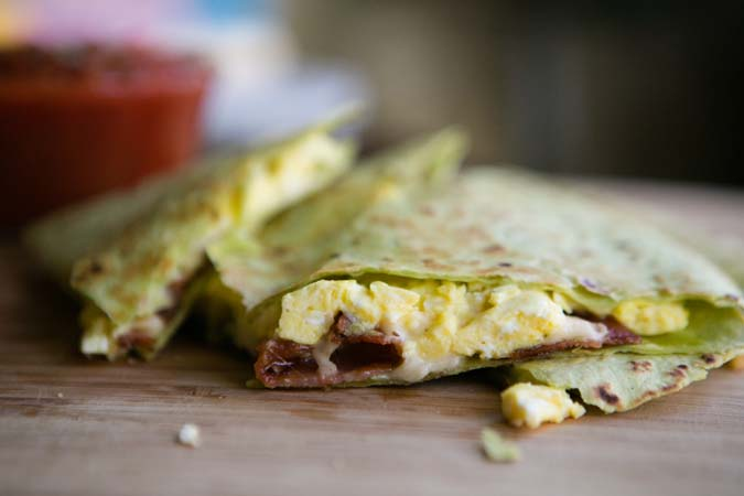 bacon and egg quesadilla