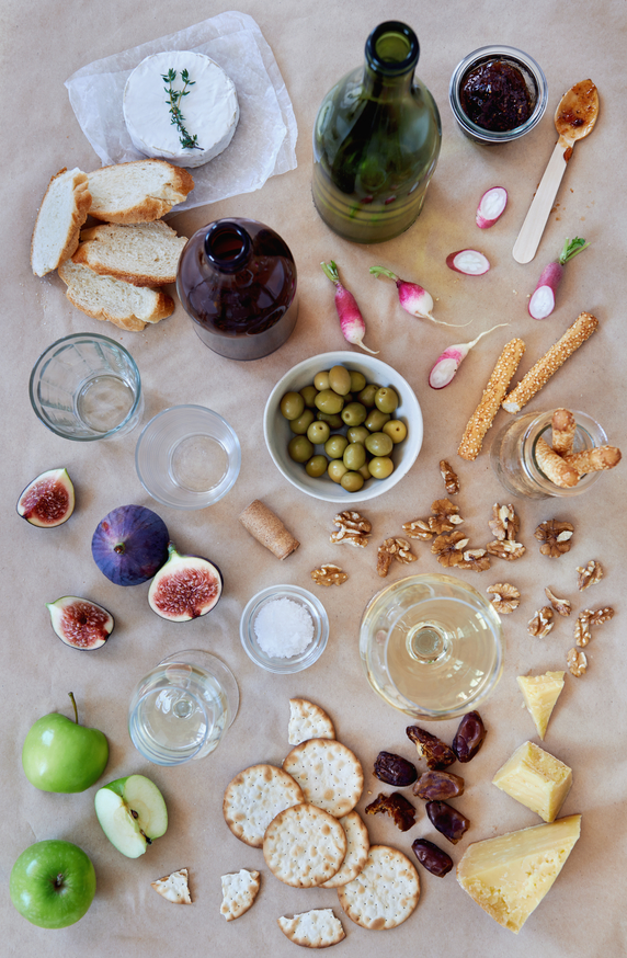 Party cheese snacks laid out shot overhead