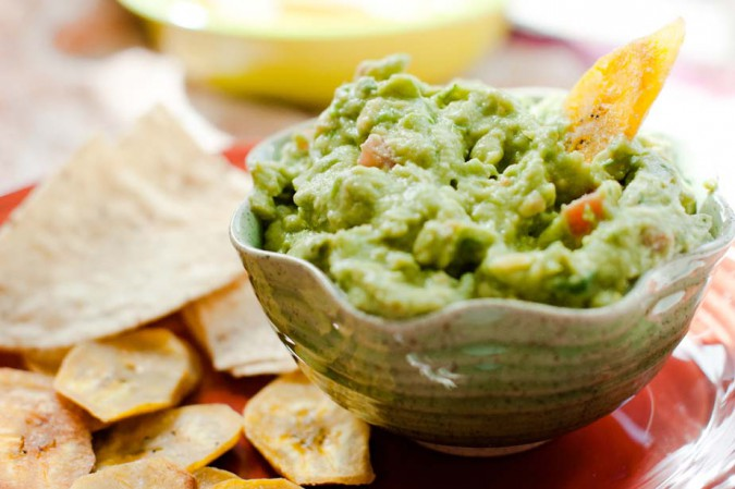 plantains and guacamole