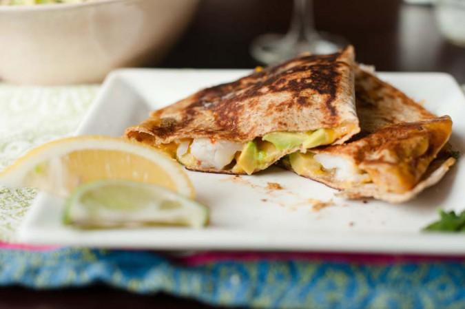 shrimp and avocado quesadilla