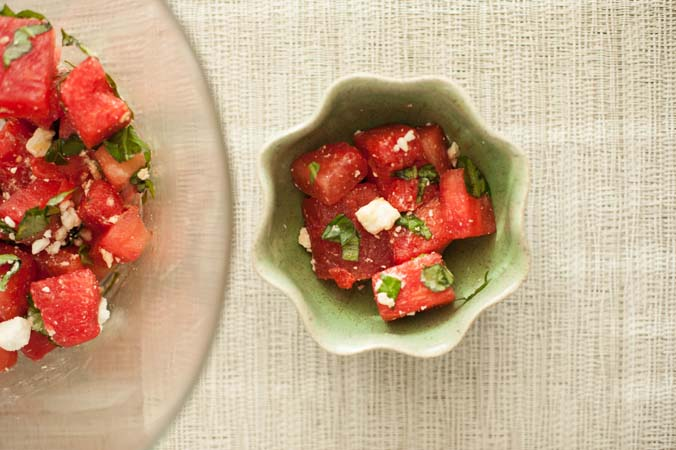 watermelon basil feta salad