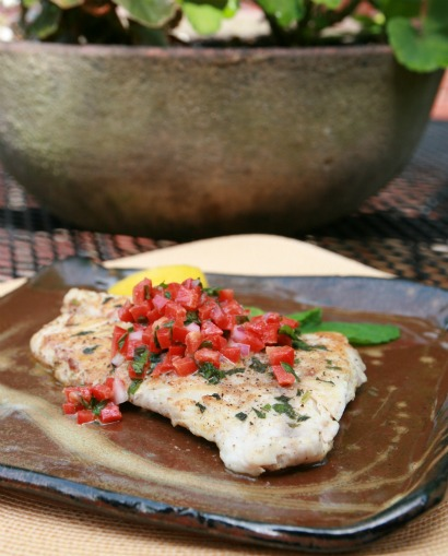 grouper with mint red pepper relish