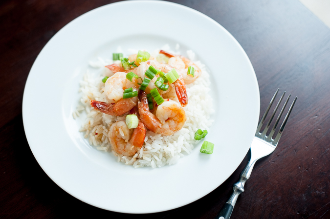 shrimp with hoisin glaze