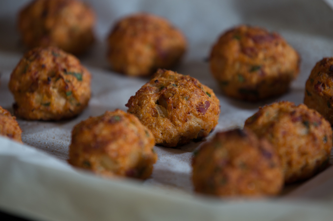 baked chicken meatballs with pancetta