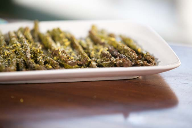 roasted asparagus with lemon and pesto