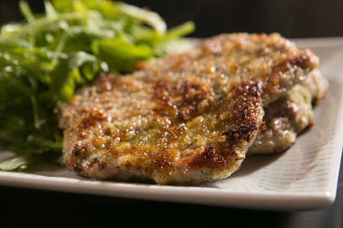pistachio crusted pork cutlet