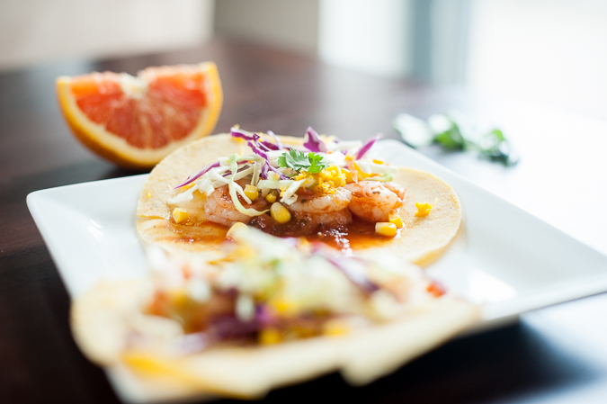 shrimp tacos with spicy citrus slaw