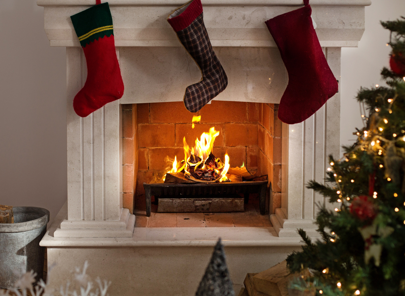 Christmas Stockings Hanging on the Mantelpiece