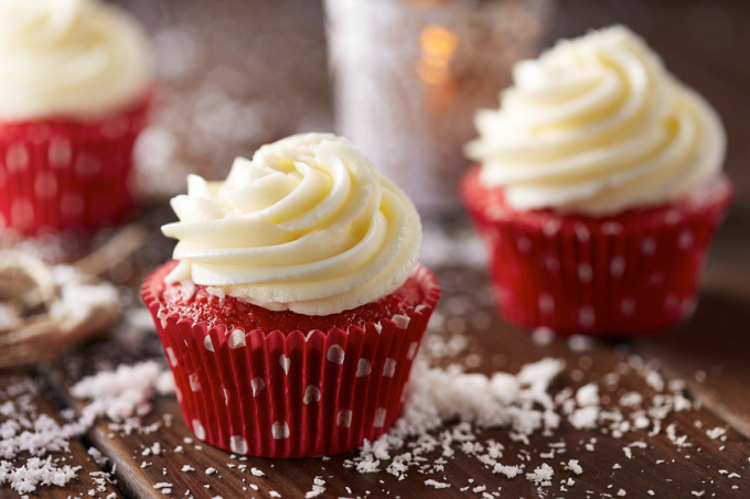 Red Velvet Cupcakes with Sweet Cream Cheese Frosting