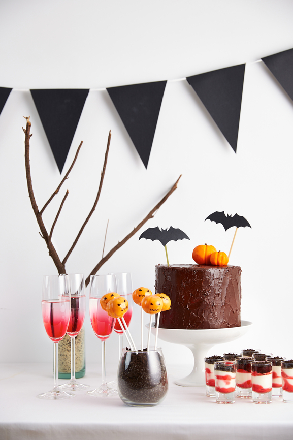 Halloween buffet on seasonal decorated table