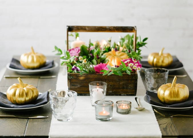 Pumpkin and flower tablescape decor for Thanksgiving or Hallowee