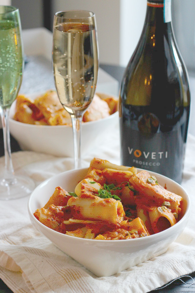 Easy rigatoni with spicy tomato cream sauce in good taste when in need to make a quick and elegant dinner for guests this creamy spicy rigatoni paired with voveti prosecco is perfect for everyday pairing or chic forumfinder Choice Image