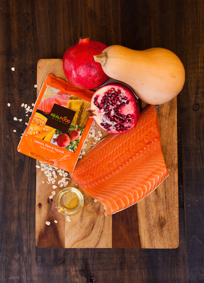 RFB Photo Shoot Salmon meal with ingredients on cutting board_112615