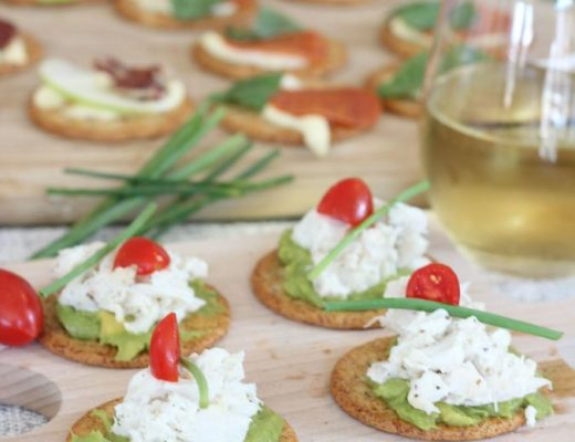 crab and avocado crostini tall