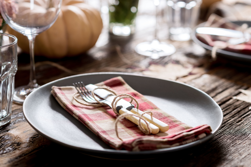 Table set for rustic thanksgiving dinner. Could also be used for Christmas dinner.