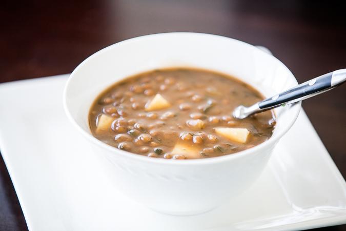 lentil soup with ham and potato