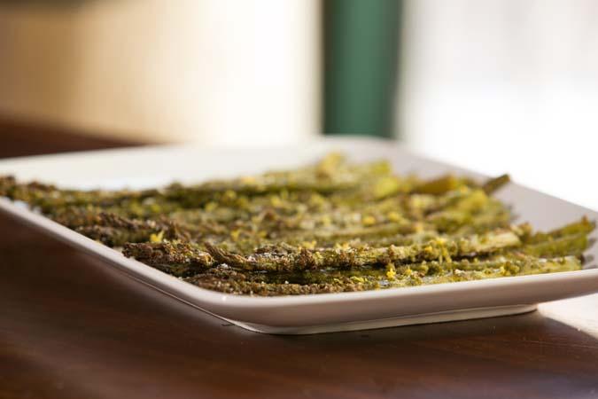 roasted asparagus with lemon and pesto